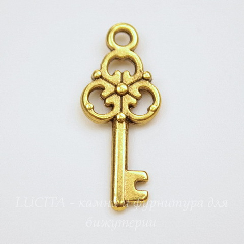 "Подвеска ""Ключик"" (цвет - античное золото) 23х10 мм"
