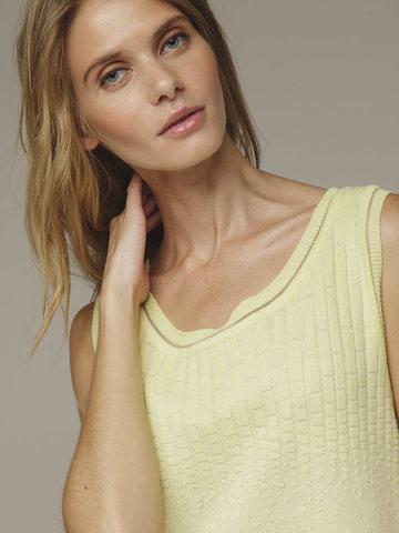 Женское желтое платье без рукава из хлопка - фото 4