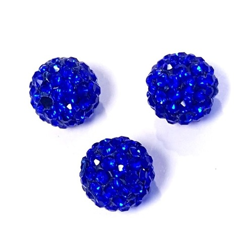 Бусина шамбала с кристаллами 10 мм синяя