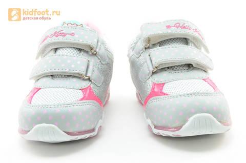 Светящиеся кроссовки для девочек Хелло Китти (Hello Kitty) на липучках, цвет серый, мигает картинка сбоку. Изображение 5 из 15.