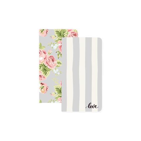 Запасные блоки Color Crush Traveler's Planner Notebooks  для  Travelers' Notepad - 2шт. Love Stripe & Floral W/32 Gray Sheets