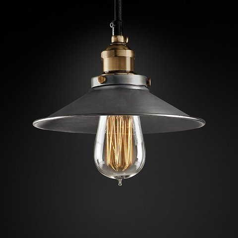 20th C. Factory Filament Metal Single Pendant