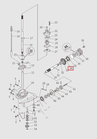 Шайба регулировочная T:0.10MM для лодочного мотора T9.8 Sea-PRO (13-34)