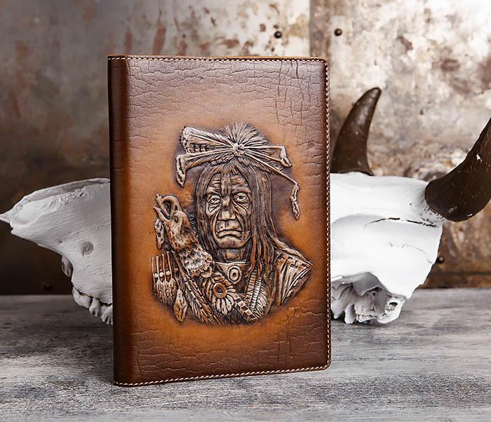 BY05-18-03 Подарочный ежедневник в кожаной обложке «Дикий Запад» (A5) фото 01