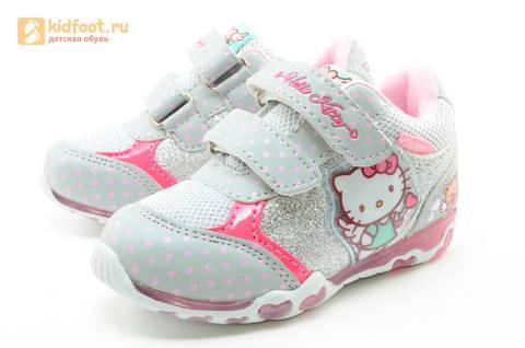 Светящиеся кроссовки для девочек Хелло Китти (Hello Kitty) на липучках, цвет серый, мигает картинка сбоку. Изображение 6 из 15.