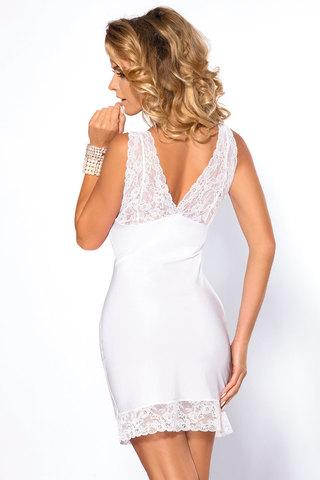 Мягкая женская домашняя белая европейская элегантная приталенная сорочка с кружевом с декольте вид сзади