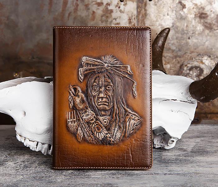 BY05-18-03 Подарочный ежедневник в кожаной обложке «Дикий Запад» (A5) фото 02