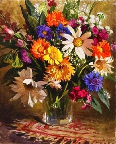 Картина раскраска по номерам 40x50 Цветы в прозрачной вазе ...