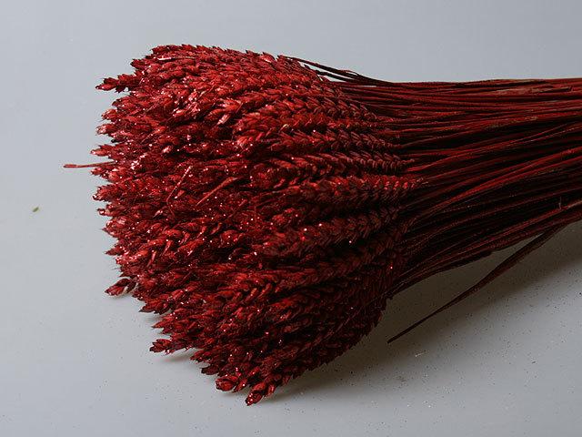 Пшеница красная с блестками пучок 15 штук 1072