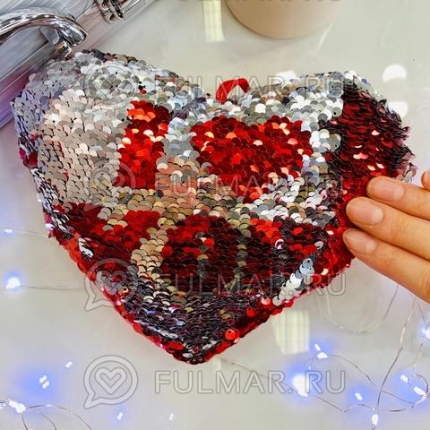 Подушечка сердце с двусторонними пайщиками меняет цвет I love you (21х16х4 см)