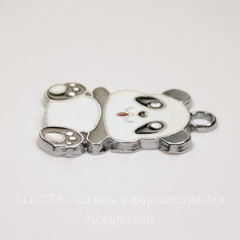 """Подвеска с эмалью """"Панда"""" 27х20 мм (цвет - платина)"""