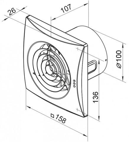 Накладной вентилятор VENTS 100 QUIET Chrome (Хром)