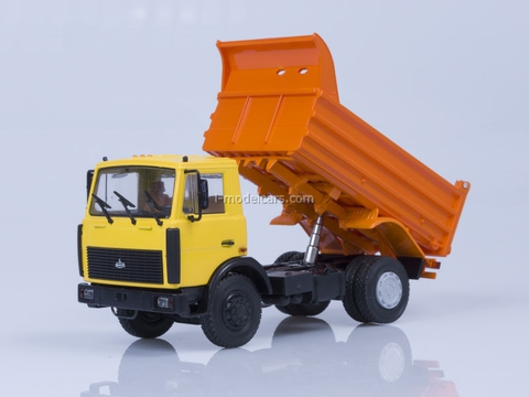 MAZ-5551 tipper later cabin 1988 high body yellow-orange AutoHistory 1:43