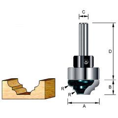 Фреза пазовая фасонная с хвостовым подшипником 35*50*14,28*12*35 мм; R=5,56 мм