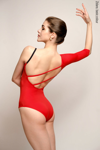 1 Sleeve 1 Strap leotard colour | scarlet