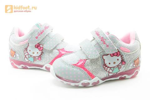 Светящиеся кроссовки для девочек Хелло Китти (Hello Kitty) на липучках, цвет серый, мигает картинка сбоку. Изображение 10 из 15.
