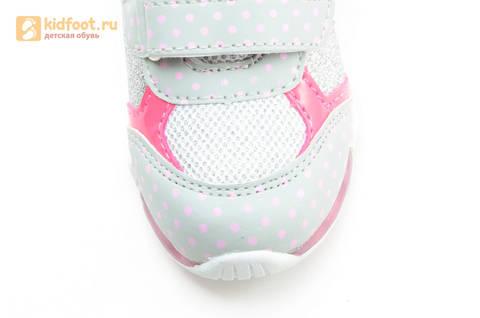 Светящиеся кроссовки для девочек Хелло Китти (Hello Kitty) на липучках, цвет серый, мигает картинка сбоку. Изображение 11 из 15.
