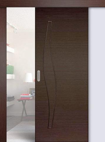 Дверь раздвижная Сибирь Профиль Волна (С-10), цвет венге, глухая
