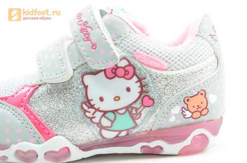Светящиеся кроссовки для девочек Хелло Китти (Hello Kitty) на липучках, цвет серый, мигает картинка сбоку. Изображение 12 из 15.