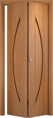 Дверь складная Верда С-6 (2 полотна), цвет миланский орех, глухая
