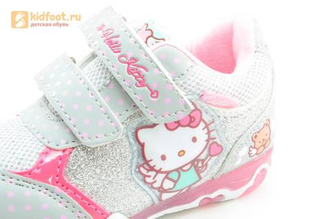 Светящиеся кроссовки для девочек Хелло Китти (Hello Kitty) на липучках, цвет серый, мигает картинка сбоку. Изображение 13 из 15.