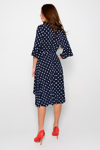 Эффектное платье на запах, изящно подчеркивает линию талии. Оригинальность образу придает разрез спереди. Рукав 3/4 с воланом. (Длина: 44=108см; 46=109см; 50=110см; 52=112см;).
