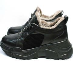 Черные кроссовки на большой подошве зимние женские Studio27 547c All Black.