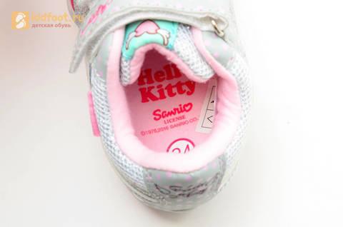 Светящиеся кроссовки для девочек Хелло Китти (Hello Kitty) на липучках, цвет серый, мигает картинка сбоку. Изображение 14 из 15.