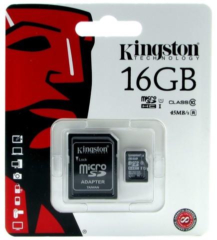 Карта памяти MicroSD 16GB Kingston Class 10 Canvas Select UHS-I U1 (SDCS/16GB)