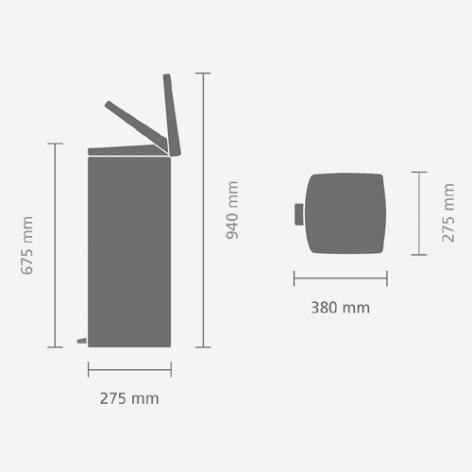 Прямоугольный мусорный бак  (25л), Стальной полированный, арт. 369384 - фото 1