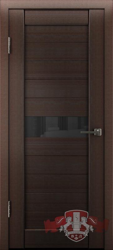 Л4ПГ4 Венге / черное стекло, Дверь межкомнатная,Владимирская Фабрика Дверей