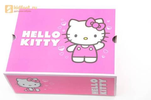 Светящиеся кроссовки для девочек Хелло Китти (Hello Kitty) на липучках, цвет серый, мигает картинка сбоку. Изображение 15 из 15.