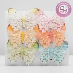 Бабочки цветны перьевые, 7,5 см, 1 шт.