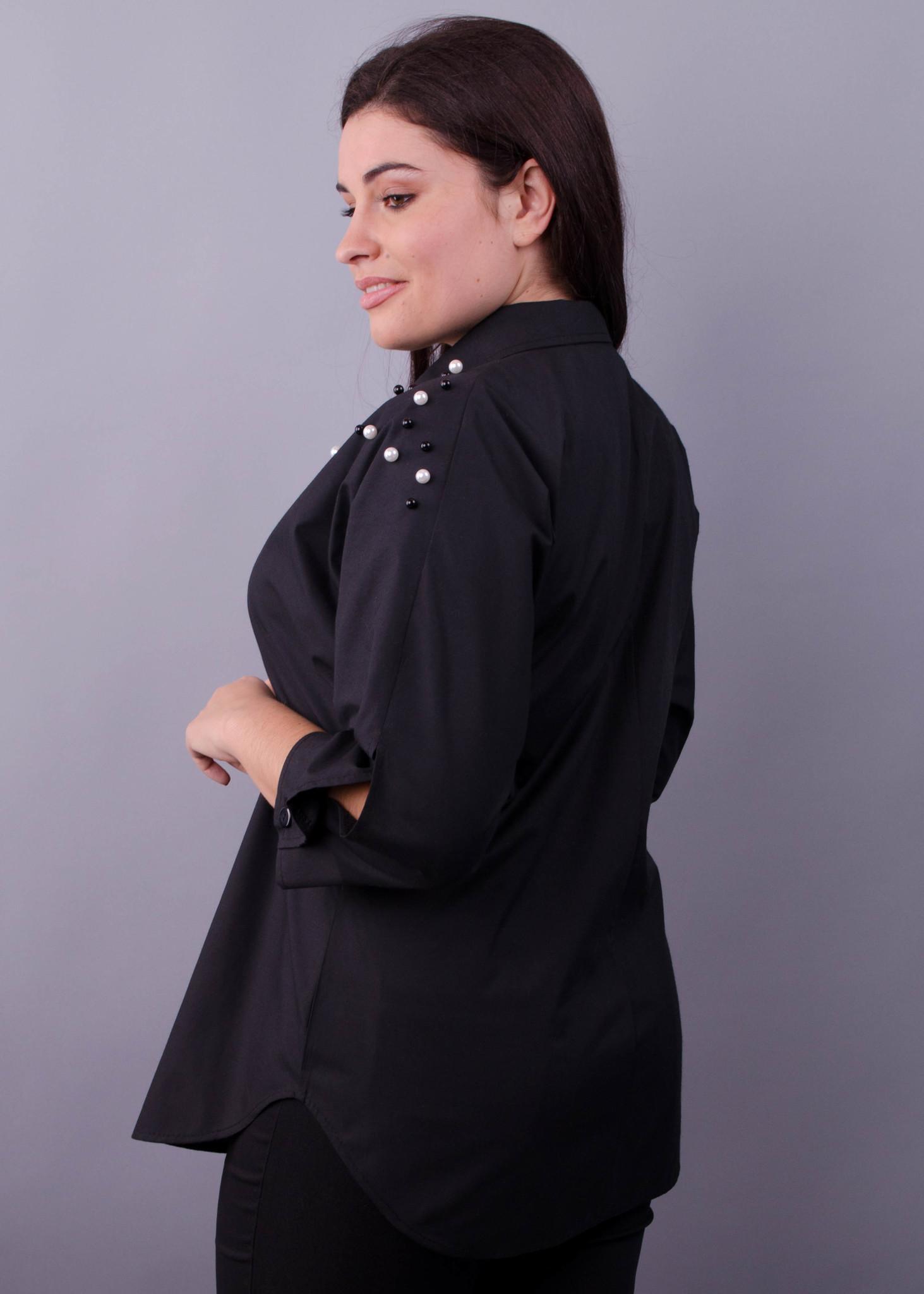 Магда. Повсякденна сорочка для офісу великих розмірів. Чорний ... efba23dbea515