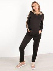 Евромама. Костюм для беременных и кормящих брюки и свитшот, черный лео