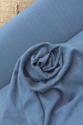 Ткань натуральная льняная, цвет ДЕНИМ