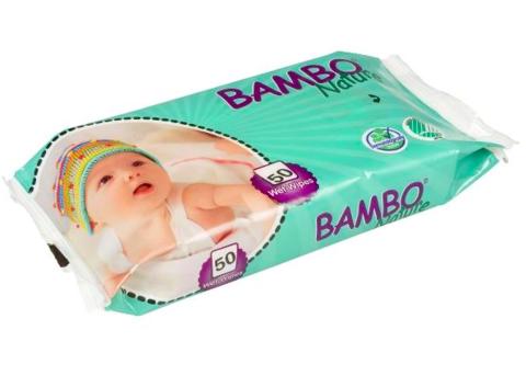 Bambo Nature. Влажные салфетки без отдушек, 1 уп/50 шт