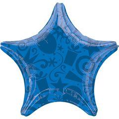 А 22 Звезда Шары и Подарки Синяя / Festive Blue Star S30 / 1 шт