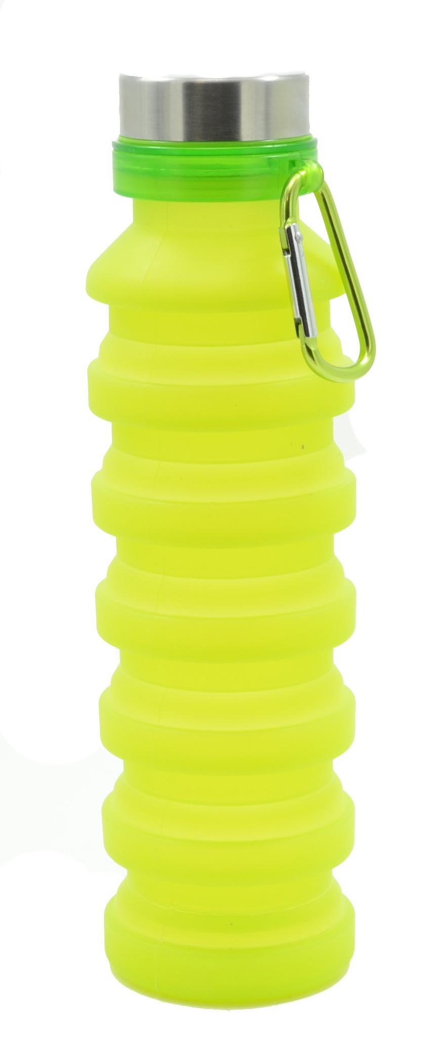 Бутылка для воды силиконовая складная с карабином 550 мл зеленая