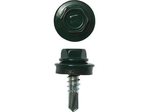 Саморезы СКМ кровельные, RAL 6005 зеленый насыщенный, 19 х 5.5 мм, 500 шт, для металлических конструкций, ЗУБР