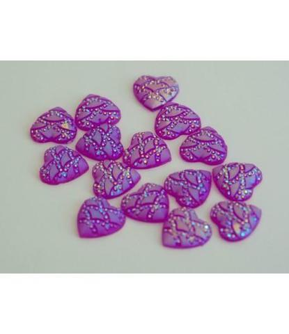 98 стразы розовые сердечки 15 шт