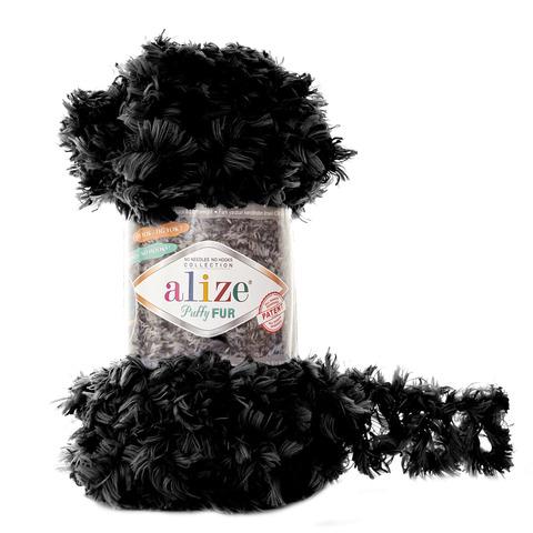 Купить Пряжа Alize Puffy Fur Цвет 6101 Черный | Интернет-магазин пряжи «Пряха»