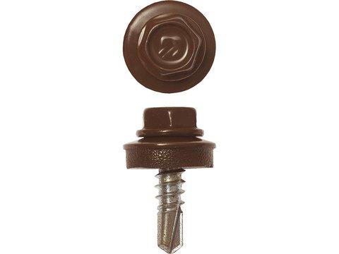 Саморезы СКМ кровельные, RAL 8017 шоколадно-коричневый, 19 х 5.5 мм, 500 шт, для металлических конструкций, ЗУБР