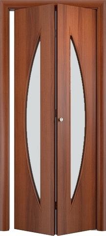 Дверь складная Верда С-6 (2 полотна), белое матовое, цвет итальянский орех, остекленная