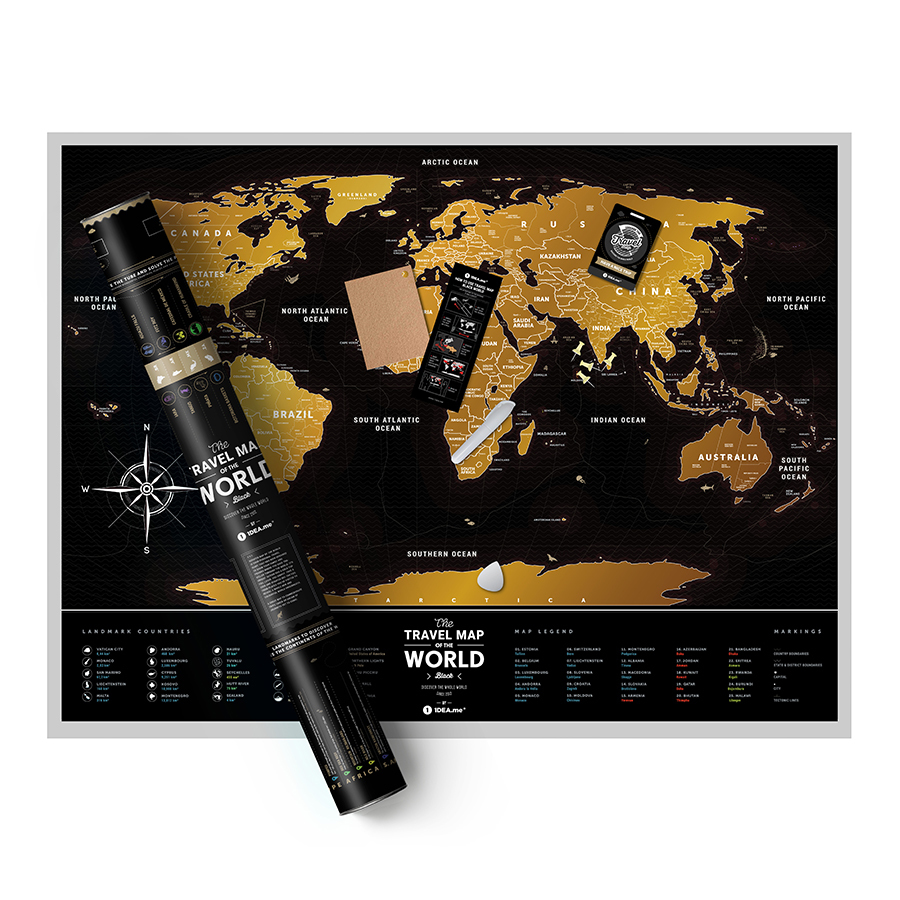Скретч-карта Travel Map Black 80 х 60 cm