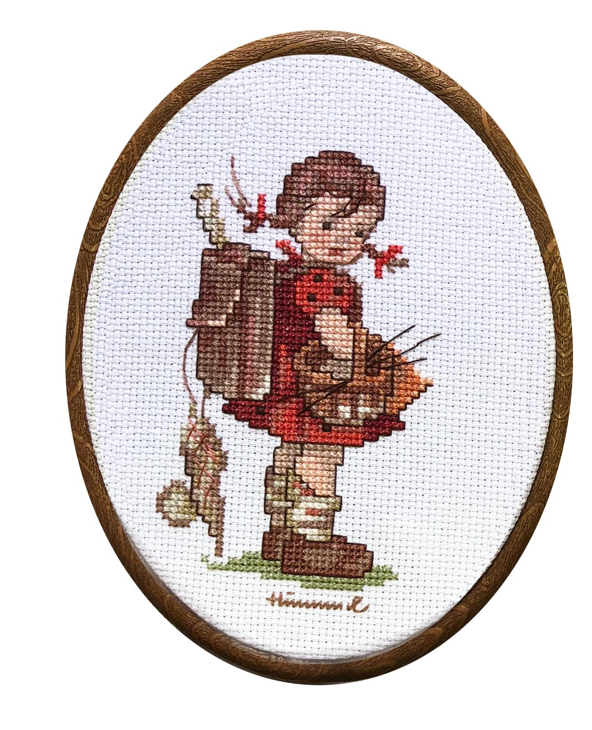 Наборы для вышивания с рамками Девочка и Мальчик с рюкзаком