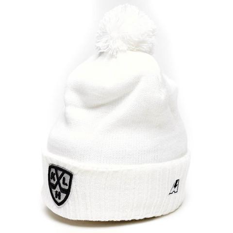 Шапка КХЛ белая с отворотом и помпоном (11568) фото 1