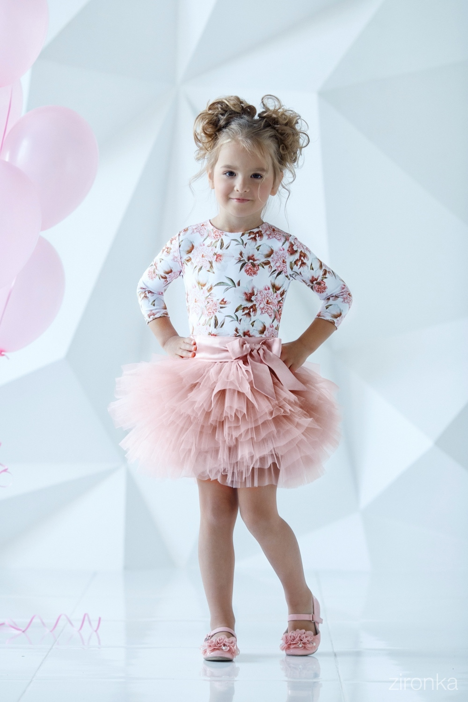 Комплект (блузка, юбка) пудровый для девочки 64-7005-5