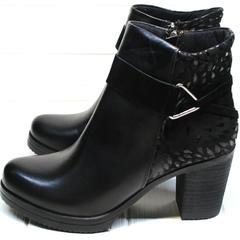 Ботильоны кожаные на каблуке Lady West 1343 101 Black