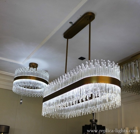 replica  LED 100 cm  oval  gold   Pendant ( Baroncelli  style )